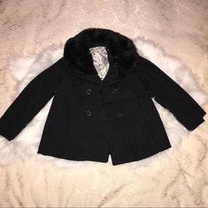 H&M Black Pea Coat with Fur neckline Girls Sz 7-8